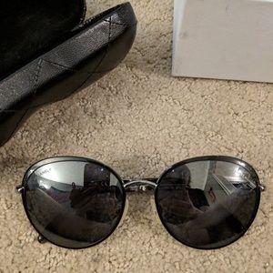 Chanel gunmetal round sunglasses